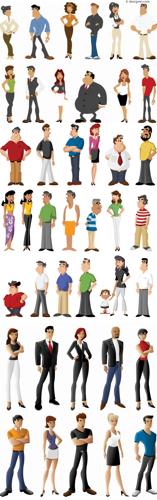 All kinds of cartoon characters vector material