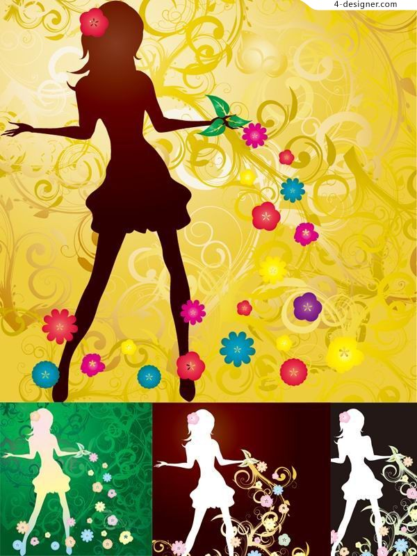 Anti white beauty fashion silhouette vector material the trend pattern