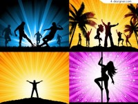 Beautiful silhouette figures vector material football