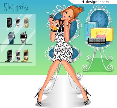 Beautifully Korea vector shopping girl 150