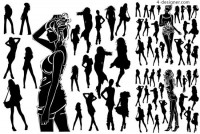 Black and white fashion female characters silhouette vector material