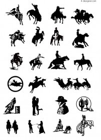 Black and white picture cowboy series two vector material