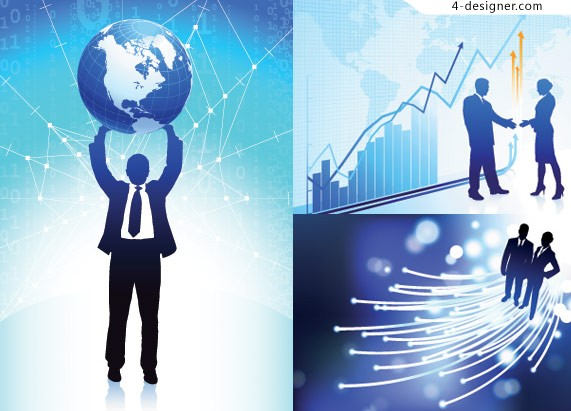 Business figures illustrations vector material