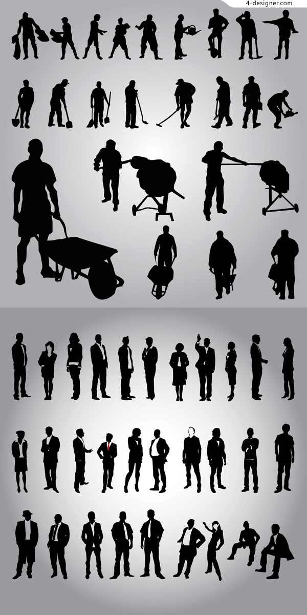 Business people and workers silhouette vector material