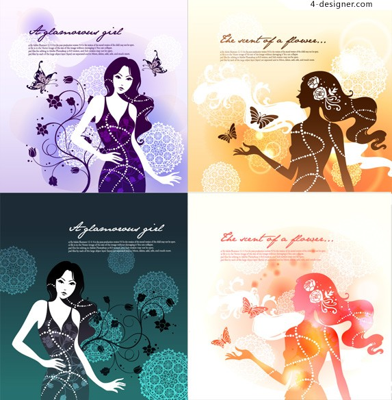 Butterfly Girl theme vector illustration material