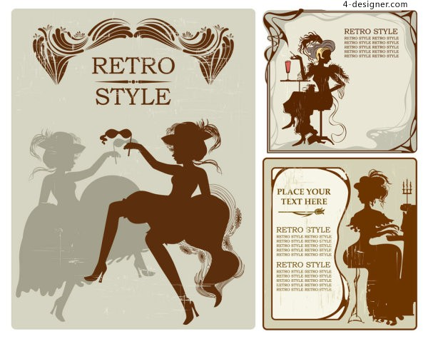 Classical female silhouette vector material