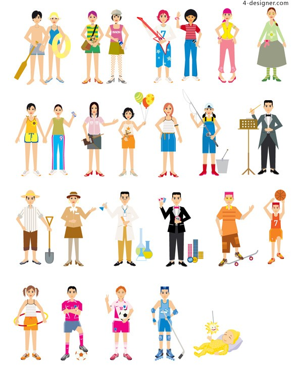 Colorful characters vector material
