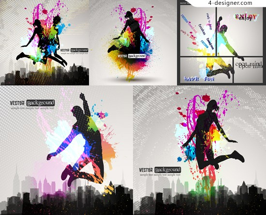 Colorful posters jumping sporty silhouette figures vector material the characters jump