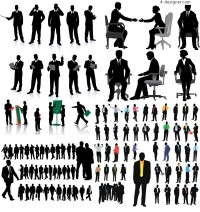 Commercial white collar office silhouette vector material