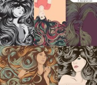 Cool female complex hair vector material