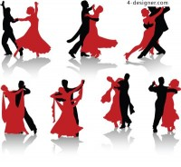 Dance figures silhouette vector material