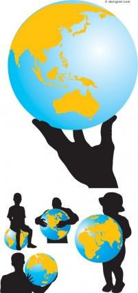 Earth and silhouette figures vector material