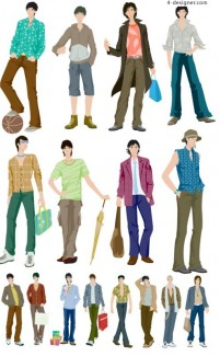 Fashion boy vector material Vector
