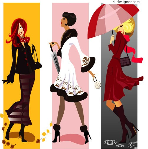 Fashion female characters vector material