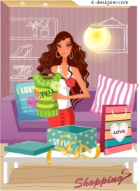 Fashion women shopping vector material 22