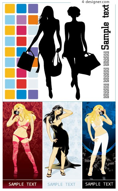 Female theme vector material