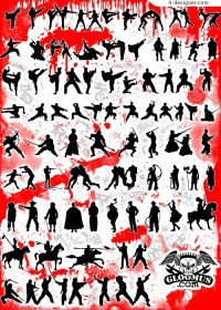 Fighting silhouette vector material