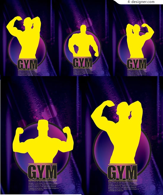 Fitness sportsman silhouette vector material aerobics silhouette
