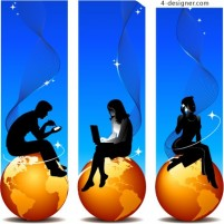 Golden Earth and silhouette figures vector material