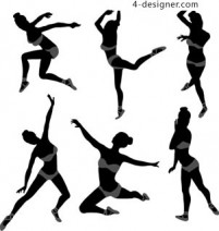 Gymnastics silhouette gymnastics jumping action beautiful stretching