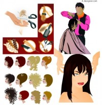 Hair theme vector material hairdressing