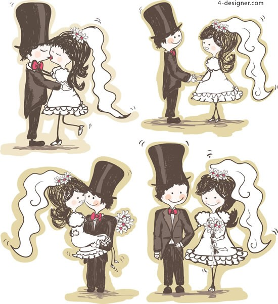 Hand painted bride and groom