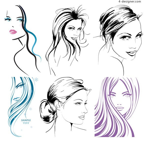 Hand painted female vector material