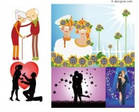 Happy couples and couples Vector material