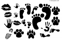 Lipstick footprints handprints shoeprint vector material