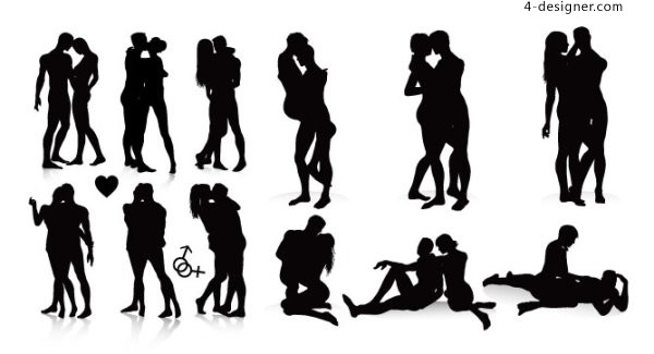 Men and women in black and white silhouette vector material