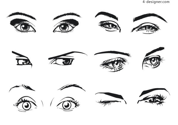 Monochrome vector woman s eyes