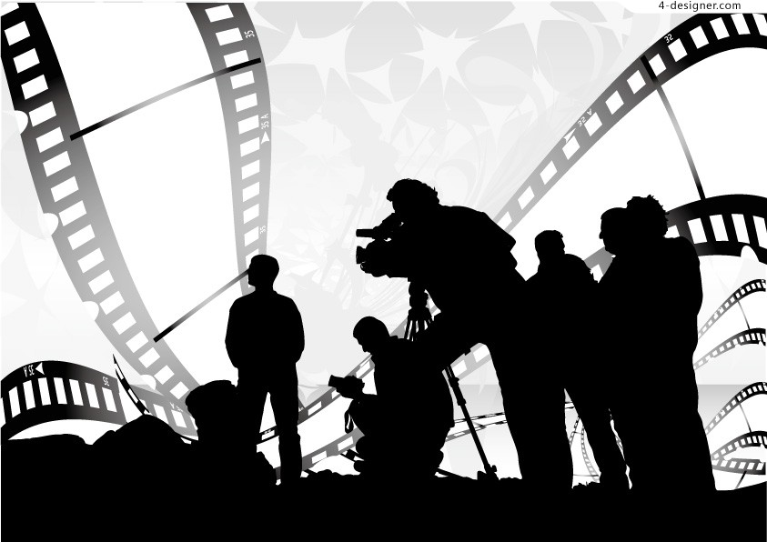 Movie theme silhouette figures vector material