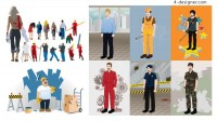 People in various occupations vector material