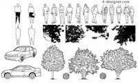 People trees car vector pattern material