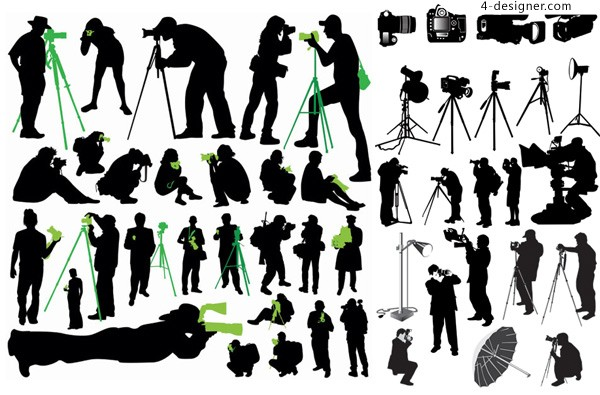 Photographer silhouette vector material