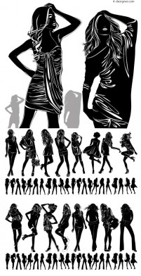 Pretty girl in black and white silhouette vector material