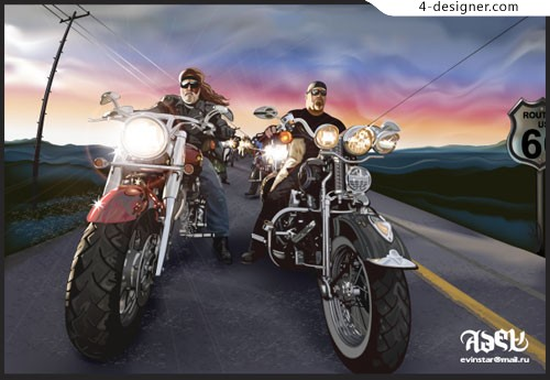 Realistic biker motorcycle rider cool AI format