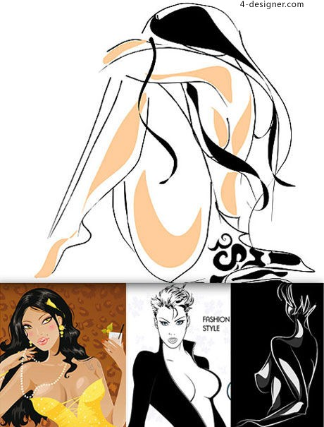 Sexy beautiful illustrations vector material