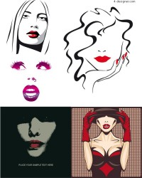 Sexy girl lips vector material