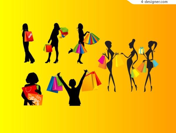 Shopping women silhouettes vector material shopping