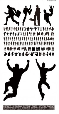 Silhouette figures vector material