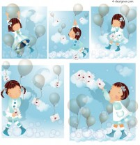 Sky Balloon theme South Korea iClickart Four Seasons cute girl album
