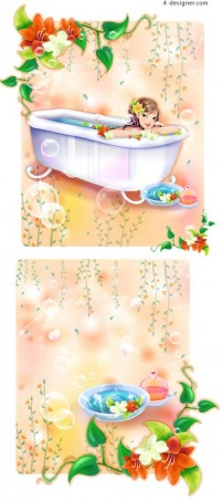 Spa vector material girl beauty bath pattern AI format