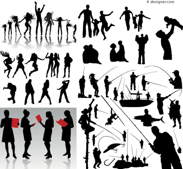 Sporty silhouette figures vector material