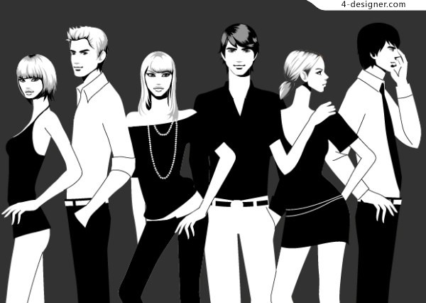 Stylish black and white photographs of men and women vector material fashion