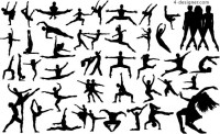 Variety of dance figures silhouette vector material