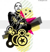 Vector Barack Obama the US president vector management figures black and white vector AI format