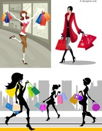 Vector beauty cheerful city shopping lively shopping