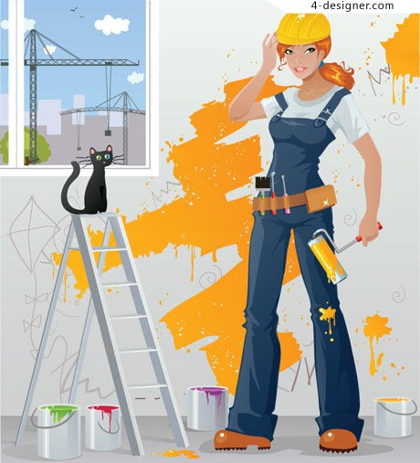 Vector female painters female painters ladders paint paint brushes kittens cartoon EPS format