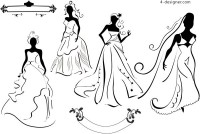 Wedding silhouette vector material